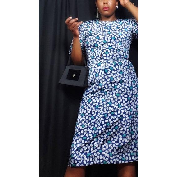 1980s Dresses Laine Seedy Print Button Up Dress Bl