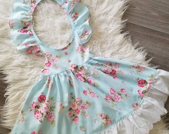 5fd9170db796 Girls Easter Dress, girls spring dress, flower girl dress, floral spring  dress, toddler easter dress, flutter sleeve dress, pink floral