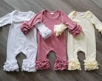 fa1ffa70ecb46 White baby romper, white ruffled romper, dusty rose romper, ivory/ yellow  romper, christening outfit, newborn outfit, cream romper