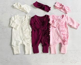 Newborn Footie romper, preemie romper, cream white footie romper, pink footies, take home outfit, personalized footies, baby sleeper