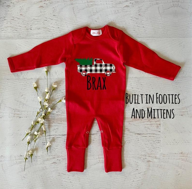 red footies romper, Christmas truck romper baby boy Christmas romper red romper Baby boy footies Christmas romper black plaid romper