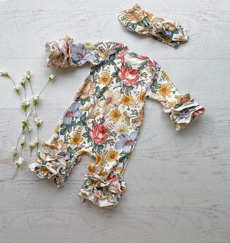 Baby floral romper take home floral outfit dusty pink floral romper take home outfit mustard floral romper spring floral romper
