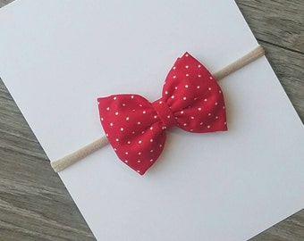 red fabric bow, red polka dot bow, baby headband, fabric bows, nylon headband, red polka dot bow, toddler bows, red bow