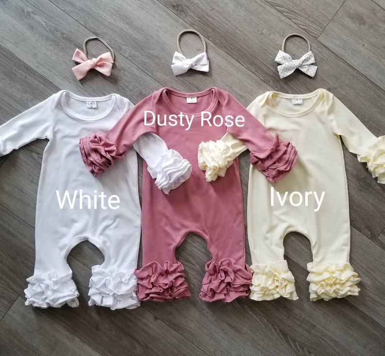 white ruffled romper cream romper ivory yellow romper christening outfit White baby romper dusty rose romper newborn outfit