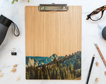 Wood Clipboard. Yosemite Half Dome, US National Park in California. Unique gift for outdoor, teachers and mountain lovers!