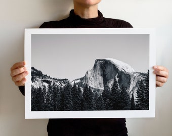 Yosemite Half Dome Close Up BW Art Print, Landscape California