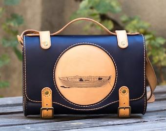 Leather Bag-Handmade bag-Woman Messenger bag-Woman bag-Shoulder bag for women-Yellow Leather Bag-Folk-Snejanka