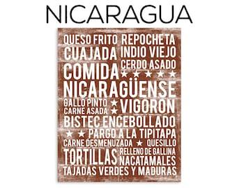 Nicaragua Food Subway Art Print - Nicaraguan Food Poster - Nicaragua Poster - Kitchen Poster - Kitchen Wall Art - Food Poster
