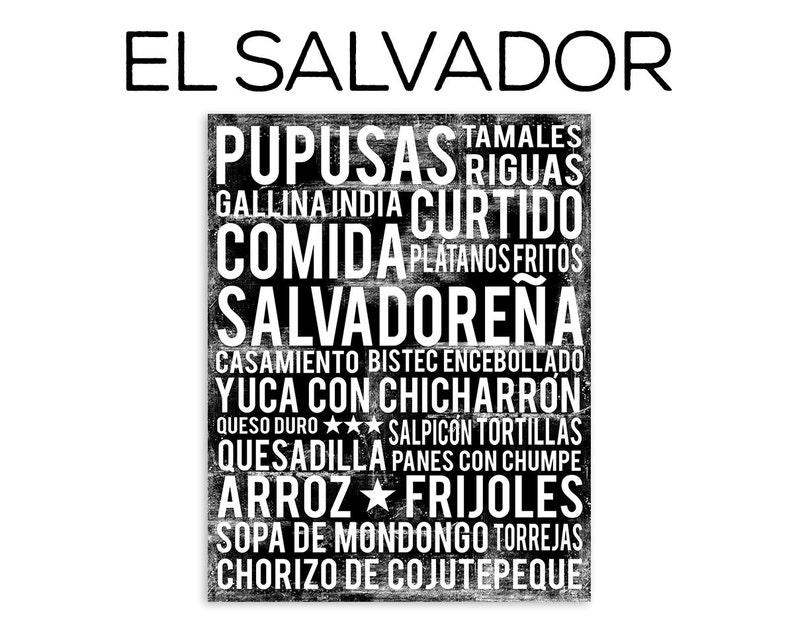 El Salvador Food Subway Art Print  El Salvador Food Poster  image 0