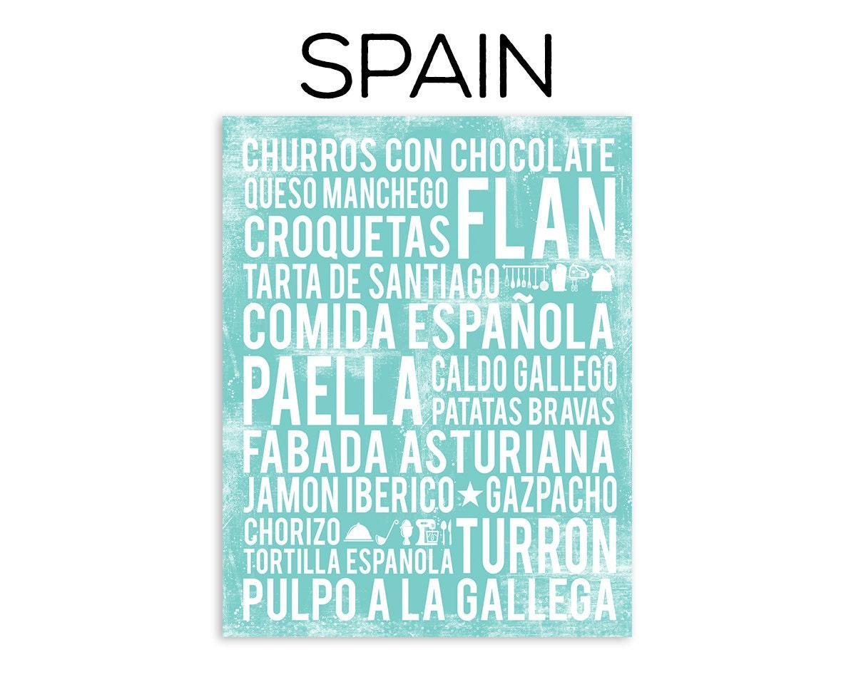 Spain Food Poster Spanish Food Poster Spain Poster