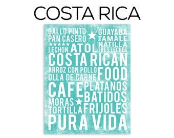 Costa Rican Food Poster - Food Word Art - Kitchen Wall Art - Food Art Print - Kitchen Poster
