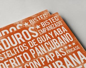 Cuban Food Poster - Orange - Word Art - Food Art Print