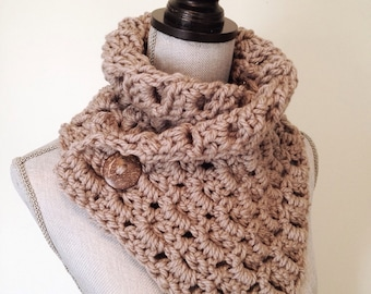 Chunky Cowl - warm cozy crochet cowl with Button Detail