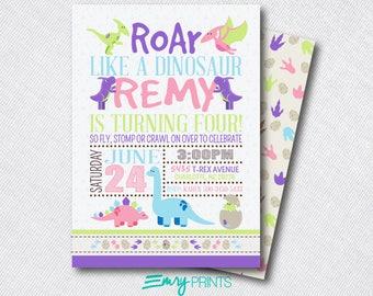 Dinosaur Birthday Invitation Girls Dinosaur Invitation Dinosaur Party Dino Birthday Roar Dinosaur Invites Dinosaur 1st Birthday Printable