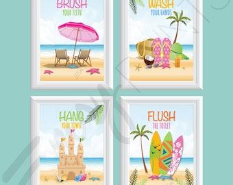 Beach Bathroom Art, Ocean Bathroom Wall Art, Kid's Bathroom Decor, Girls Beach Bathroom, Hang, Brush, Flush, Wash