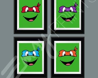 Teenage Mutant Ninja Turtles Children's Bedroom Wall Art, Kid's Room Decor, Ninja Turtle Nursery TMNT Leonardo Donnie, Mikey, Raph