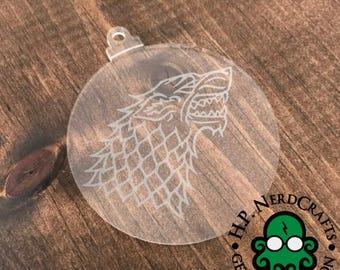 House Stark Etched Vinyl Ornament
