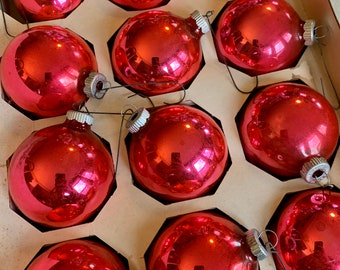 Vintage Shiny Brite and Made in USA Large 3 12 tall Etched Glass Christmas Tree Ornaments Night Before Christmas Silent Night Noel