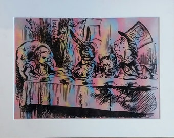 Alice In Wonderland Tea Party  - A4 On Ivory Mount