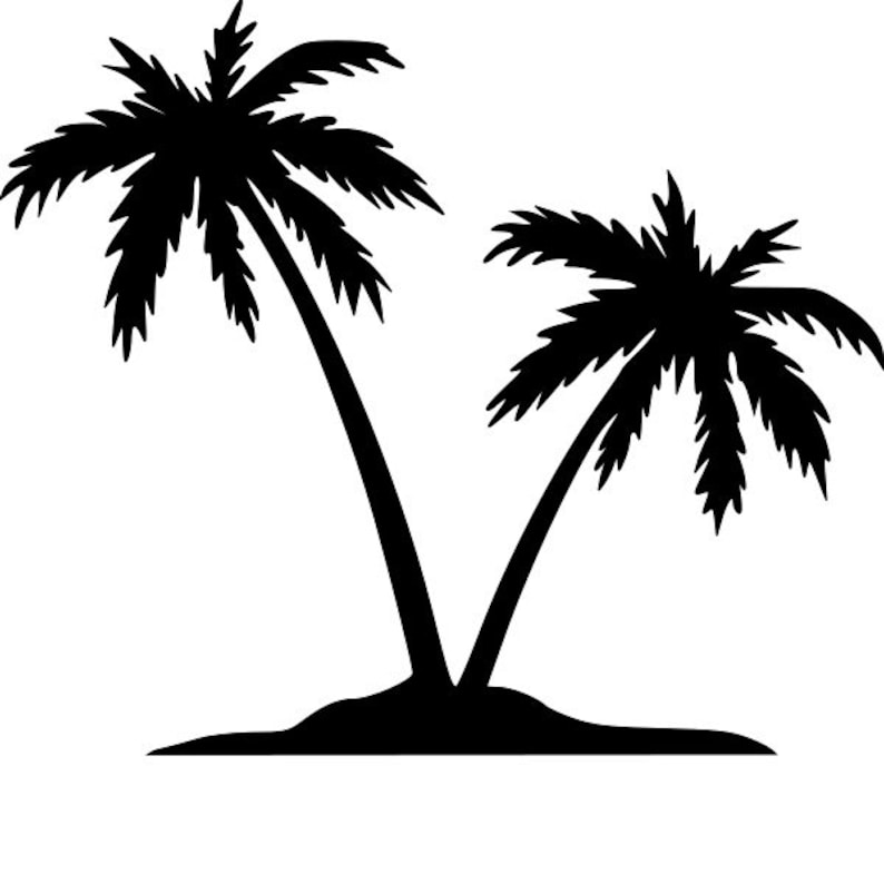 Palm Tree Island: Palm Tree Island Stencil RE-USABLE 7 X 6 Inch