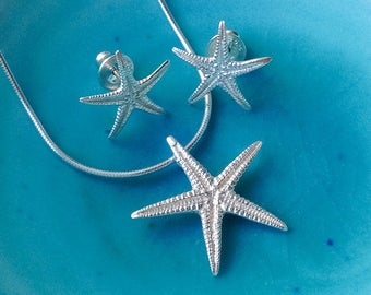 Starfish Necklace, Silver Starfish Pendant, Silver Shell Necklace, Silver Starfish, Beach Jewellery, Mary Colyer