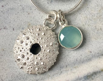 Sea Urchin Necklace with, Blue Agate, Silver Sea Urchin Pendant, Silver Shell Necklace, Sea Urchin, Beach Jewellery, Mary Colyer