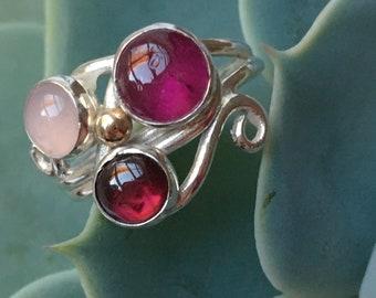Tourmaline Ring, Multi Stone Cocktail Ring, Rose Quartz Ring, Garnet Ring, Boho Jewellery, Lovely Gift, Mary Colyer Jewellery