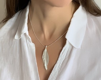 Silver Feather Necklace, Silver Feather Pendant, Solid Silver Feather, Statement Necklace, Statement Pendant, Special Necklace, Gift For Her