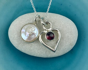 Heart Necklace, Garnet Heart Pendant with Freshwater Pearl, Love Necklace, Double Heart Necklace, Gift For Her, Love Gift, Mary Colyer