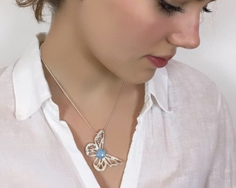 Butterfly Necklace, Gift For Her, Christmas Necklace,Silver Statement Necklace, Statement Pendant, Moonstone Necklace, Mary Colyer Jewellery
