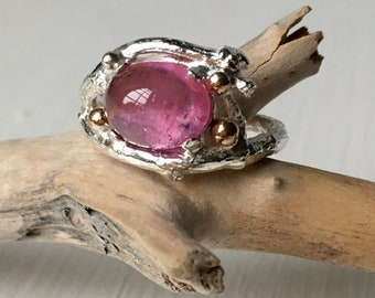 Silver Twig Ring with Pink Tourmaline, Unusual Ring, Tourmaline Ring, Silver Cocktail Ring,  Mary Colyer Jewellery