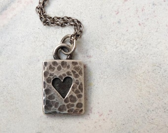 Beaten Silver Heart Necklace, Valentines Heart, Love Token, Silver Heart Pendant, Mary Colyer