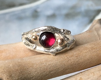 Silver Twig Ring with Garnet Size N, Unusual Ring, Rustic Twig Ring,  Garnet Ring, Silver Cocktail Ring,  Mary Colyer Jewellery