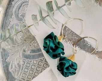 Dark green half hoop silk earrings. Sister stocking stuffer. Silk anniversary gift for wife. Gold filled drop earrings, floral ruffle drops