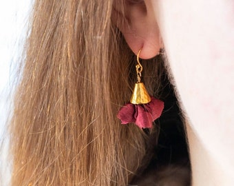 Purple floral earrings. Sister bridesmaid gift. Silk anniversary for wife. Gold lightweight long drop. dark pink stocking stuffer for grad.
