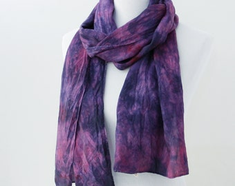 Purple and pink silk scarf for mom. New job gift for daughter. Lightweight silk scarf. Birthday gift for her Handpainted scarf Tie dye scarf