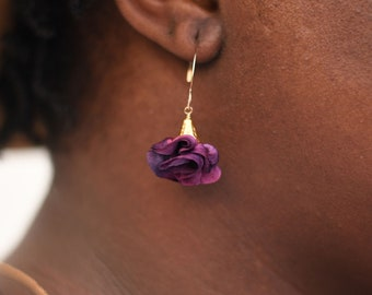 Dark purple pink drop silk earrings. Sister birthday gift. Silk anniversary gift for wife. Gold filled earrings, non tarnish ruffle earrings