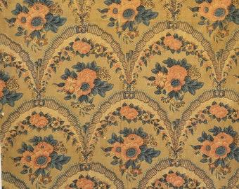 Antique Fabric French Floral 1830 1840 1850 1860 19th Century  Chateau Manor House Set Design Film TV Design Inspiration Interior Design