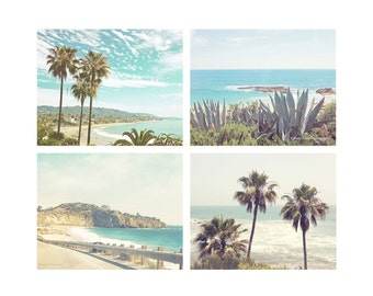 Beach Print Set of 4, Beach Photography Set, Palm Tree Prints, Southern California Wall Art, Ocean Art Prints, Beach Photos, Wall Decor,