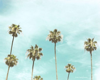 Palm Tree Photography, California Wall Art, Beach Wall Decor, Blue Green Art, Palm Tree Picture, California Photo, Beach Print, 8 x 10 Print