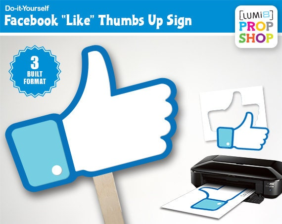 Facebook like thumbs up photo booth prop signs etsy zoom solutioingenieria Images