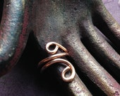 The Enchantment Goddess s Elongated Swirl Healing Copper Ring 11g Hand Wrought Raw Copper, Size 8 Ring, Size 8.5 Ring, Size 9.5 Ring