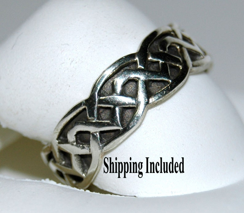 "925 Sterling Silver Celtic Knot Wedding Band 1//4/"" Wide Thumb Ring"