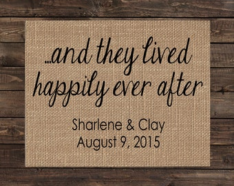 And They Lived Happily Ever After Personalized Burlap Print / Wedding Gift / Anniversary Gift / Keepsake / Sign / Wall Decor (#1684B)