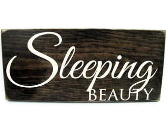 Baby Girl or Child Nursery Sign Rustic Wood Wall Art - Sleeping Beauty (#1166)