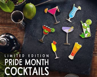 Pride Month Cocktail Collection Limited Edition Pin Set Hard Enamel LGBTQ Drinks