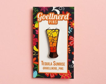 Pride Tequila Sunrise Limited Edition Hard Enamel Pin LGBTQ Drinks Cocktail Happy Hour