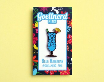 Pride Blue Hawaiian Limited Edition Hard Enamel Pin LGBTQ Drinks Cocktail Happy Hour