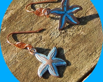 Pretty Solid Copper Star Fish Earrings with Decorative Ear Wire