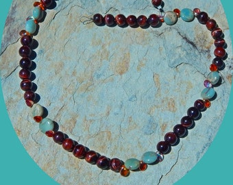 On Sale! Beautiful Red Tiger's Eye, African Opal and Fire Polished Czech Bead Necklace
